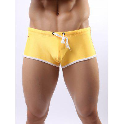 Contrast Trim Drawstring Swimming Trunks