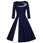 Pleated Color Block A Line Dress - BLUE AND WHITE