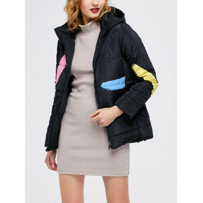 Hooded Color Block Quilted Jacket