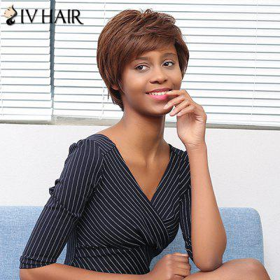Buy COLORMIX Siv Hair Layered Shaggy Straight Short Side Bang Human Hair Wig for $49.96 in GearBest store
