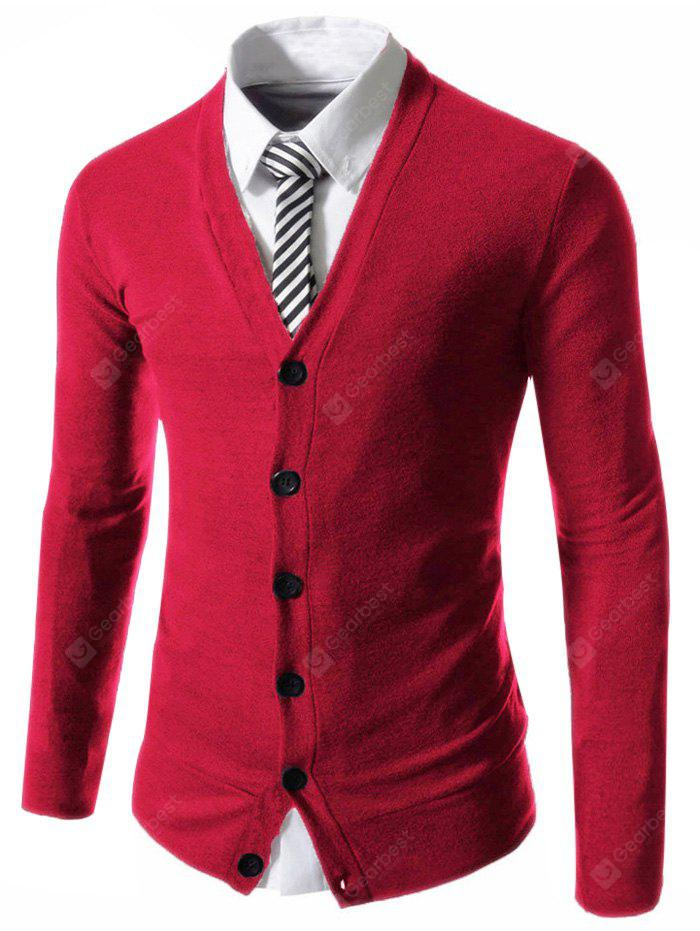 Trendy Slimming V-Neck Single Breasted Solid Color Long Sleeve Polyester Cardigan Men - WINE RED