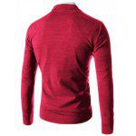 Trendy Slimming V-Neck Single Breasted Solid Color Long Sleeve Polyester Cardigan Men XL WINE RED