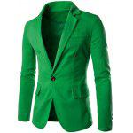 Buy GREEN Stand Collar One Button Design Slimming Cotton+Linen Blazer for $25.74 in GearBest store