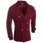 Slimming Solid Color Turndown Collar Double-Breasted Long Sleeves Men's Woolen Coat - BURGUNDY