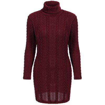 Long Sleeve Mini Turtleneck Sweater Dress