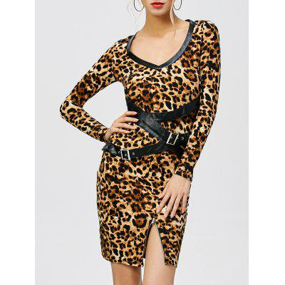 Leopard Print Belted Bodycon Dress