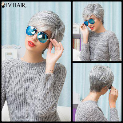 Buy COLORMIX Siv Hair Side Bang Short Shaggy Layered Straight Human Hair Wig for $50.99 in GearBest store