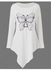 Butterfly Print Plus Size Asymmetrical Top