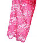 Long Sleeve Lace Panel Sheer Wrap Robe - HOT PINK