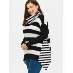 Plus Size Striped Turtleneck Asymmetric Sweater deal