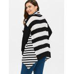 best Plus Size Striped Turtleneck Asymmetric Sweater