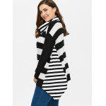 Plus Size Striped Turtleneck Asymmetric Sweater for sale