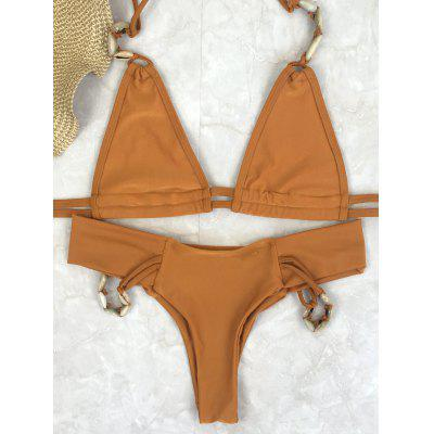 Stylish Shell Embellished Halter Neck Women's Bikini Set