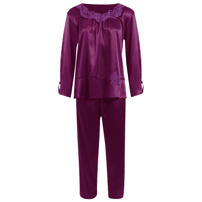 Pullover Faux Silk Two Piece Pajamas