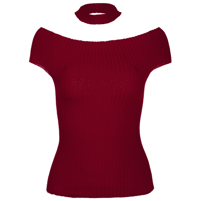 Off The Shoulder Choker Ribbed Knitwear