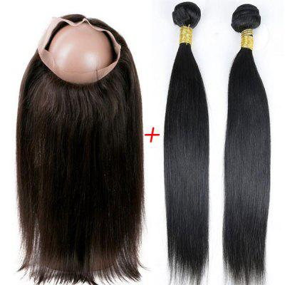 Indian 5A Remy Straight Hair Weave 2 Pcs/Lot With 360 Lace Frontal Human Hair Weave
