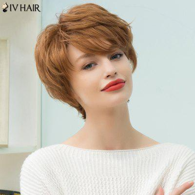 Buy AUBURN BROWN #30 Siv Hair Short Pixie Layered Inclined Bang Straight Human Hair Wig for $44.90 in GearBest store