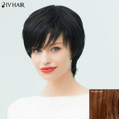 Buy AUBURN BROWN #30 Siv Hair Short Layered Silky Straight Inclined Bang Human Hair Wig for $51.13 in GearBest store