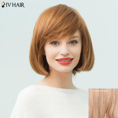 Buy BROWN WITH BLONDE Siv Hair Short Layered Inclined Bang Straight Bob Human Hair Wig for $63.36 in GearBest store