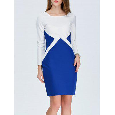Color Block Sheath Pencil Work Dress