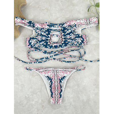 Crossover Printed Off The Shoulder Bikini Set