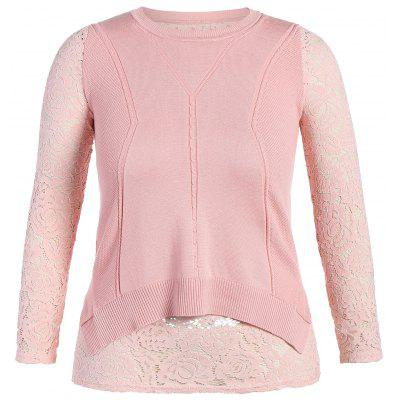 Lace Panel Button Design Knitwear
