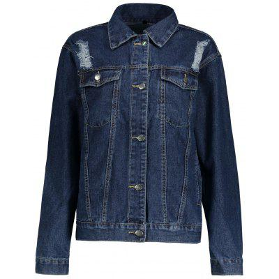 Distressed Button Up Denim Jacket