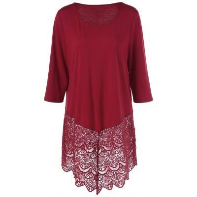 Buy WINE RED Plus Size Lace Trim Longline T-Shirt for $16.83 in GearBest store