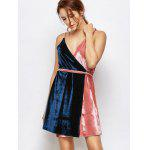 Sleeveless Two Tone Velvet Cami Wrap Dress - BLUE AND PINK