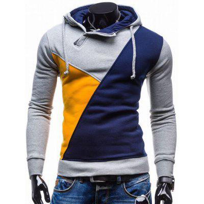 Buy BLUE Side Zip Up Contrast Color Pullover Hoodie for $15.50 in GearBest store
