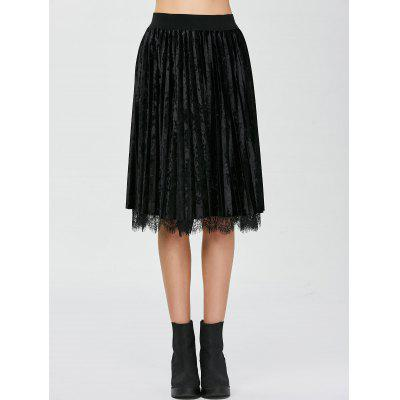 Pleated Lace Panel Velvet Skirt
