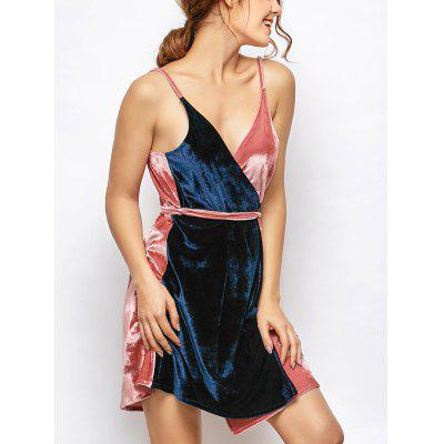 Sleeveless Two Tone Velvet Cami Wrap Dress