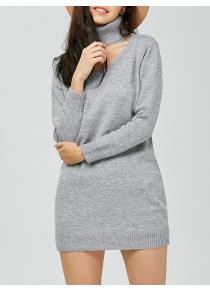 Knit Cut Out Roll Neck Jumper Dress
