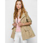 Flap Pocket Drawstring Trench Jacket - KHAKI