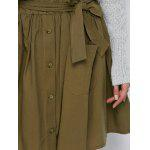 Button Up Belted Mini Skirt With Pockets - ARMY GREEN