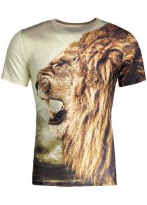 Animal Lion King Print Round Neck Short Sleeves 3D T-Shirt For Men