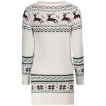 Snowflake and Elk Printed Christmas Sweater Dress - WHITE