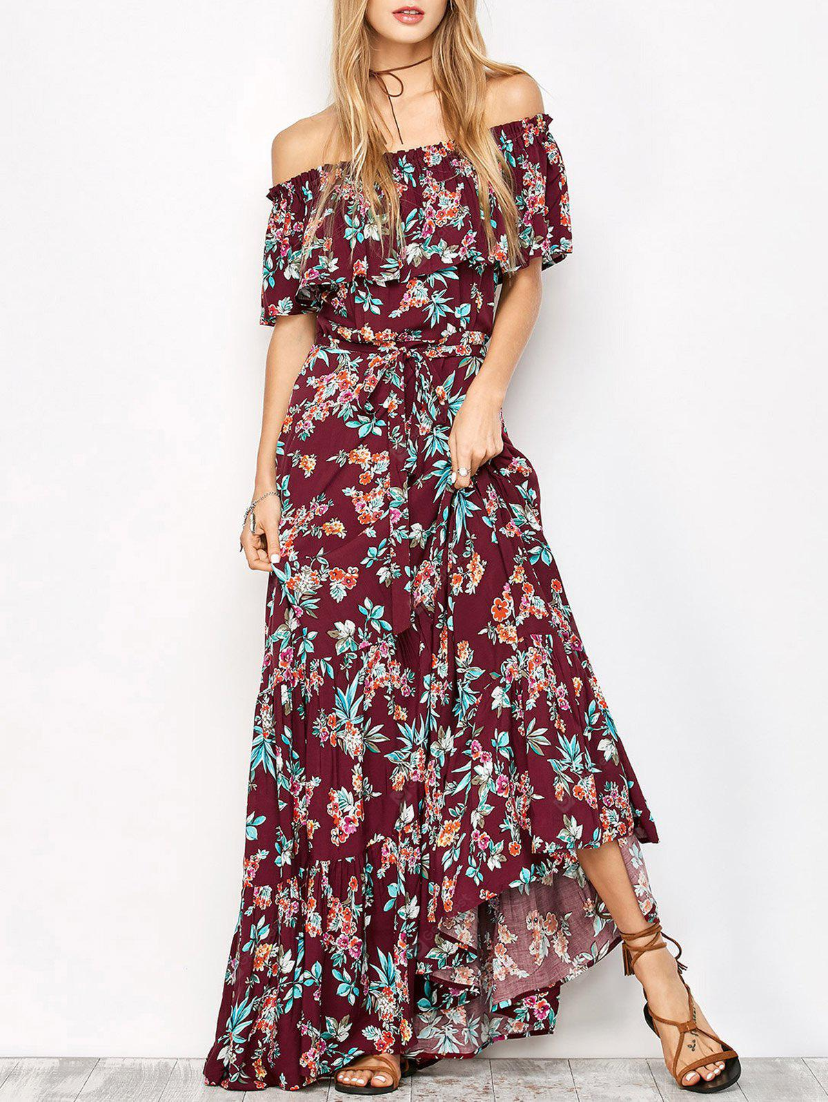 Off The Shoulder Maxi Floral Flowing Dress