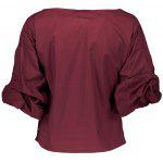Belted Bunched Sleeve Crossover Blouse - WINE RED