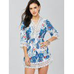 cheap Lace Trim Paisley Mini Tunic Dress