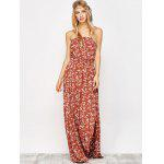 Maxi Strapless Floral Beach Dress with Slit - ORANGE RED