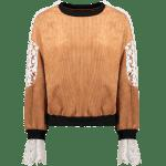 Crew Neck Crochet Flower Spliced Corduroy Sweatshirt for sale