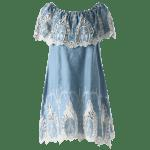 Off The Shoulder Crochet Trim Dress - LIGHT BLUE