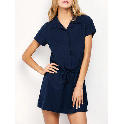Drawstring Mini Casual Dress With Short Sleeve