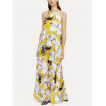 Floral Print Maxi Beach Flowing Dress - YELLOW