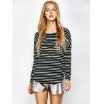 Striped Long Sleeved Tee - WHITE AND BLACK
