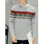 Crew Neck Texture Knitted Sweater - GRAY