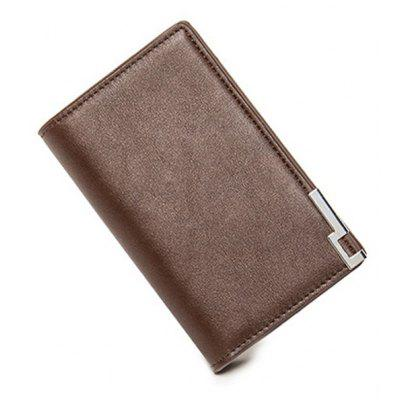 Metal PU Leather Bi Fold Wallet
