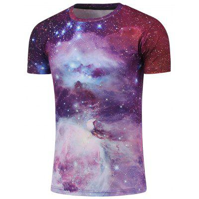 Gearbest Crew Neck Short Sleeve Galaxy T-Shirt