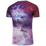 Crew Neck Short Sleeve Galaxy T-Shirt - RED